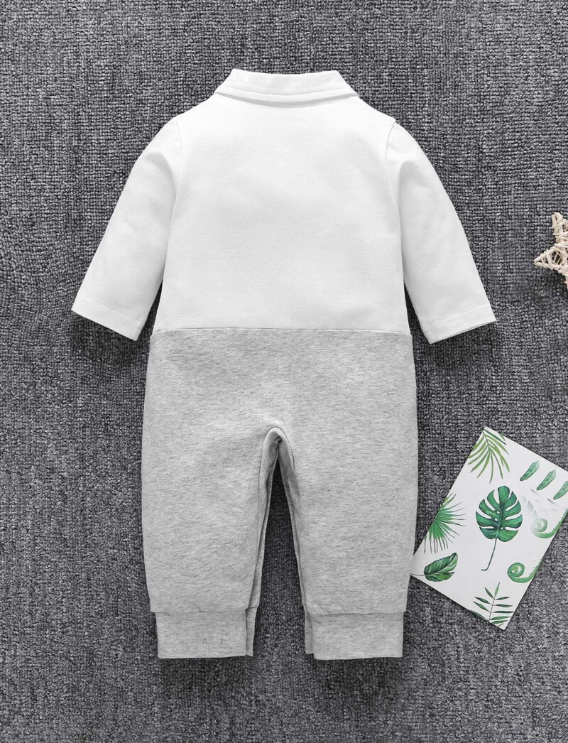 Baby Cut And Sew Panel Bow Tie Button Jumpsuit