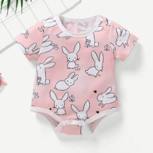 Baby Rabbit Print Button Jumpsuit