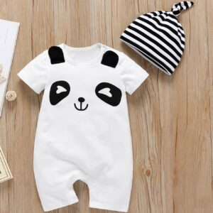 Baby Cartoon panda Print Popper Jumpsuit With Hat