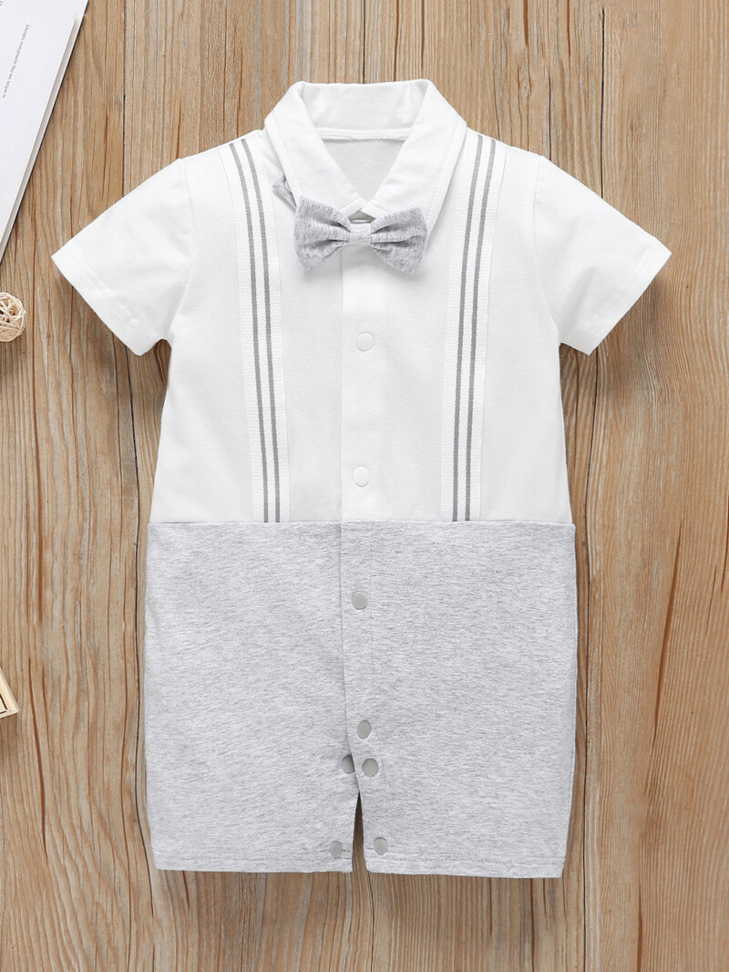 Baby Striped Tape Bow Popper Front Jumpsuit