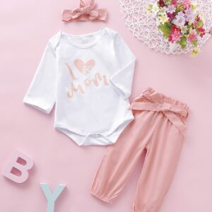 Baby Girl Letter Print Romper With Belted Pants