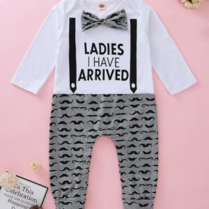 Baby Girl Slogan Print Bow Tie Spliced Jumpsuit