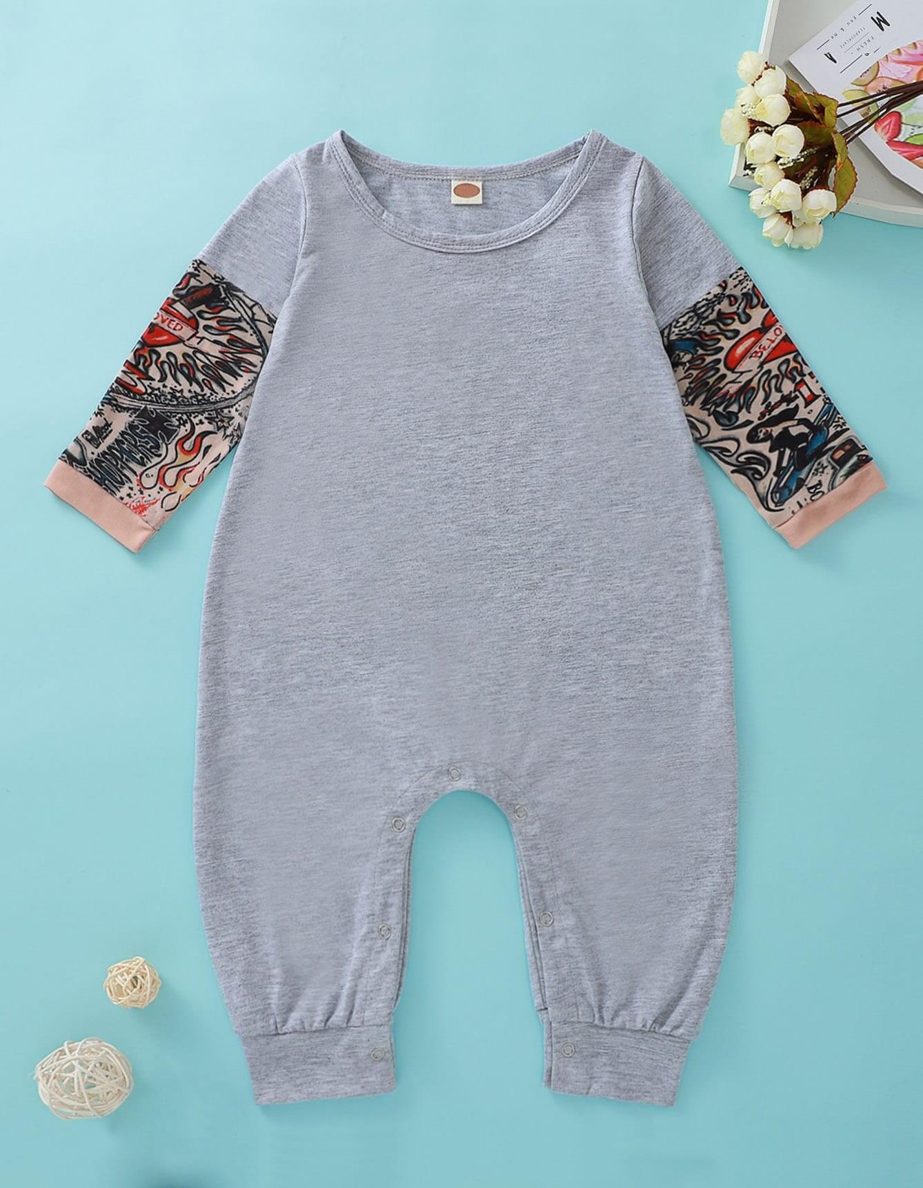 Baby Boy Contrast Sleeve Popper Jumpsuit
