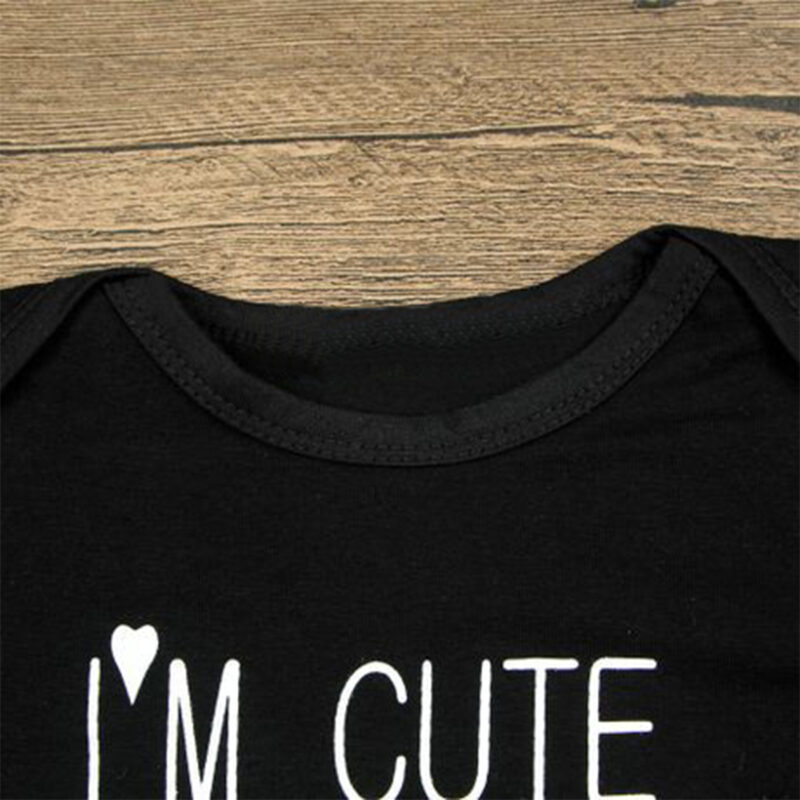 I'M CUTE MOM'S HOTDAD'S LUCKY Bodysuit for Baby - Black