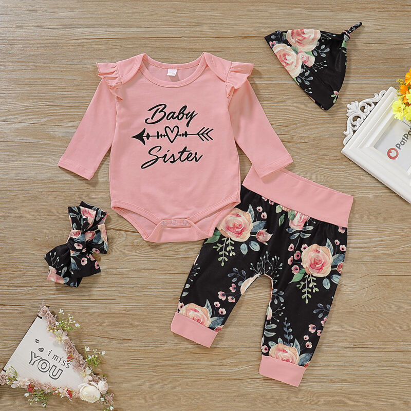 4-Pieces Letter Print Ruffled Bodysuit and Floral Pants, Hat, Headband for Baby Girl - Pink