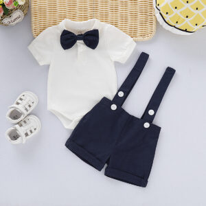 Handsome Solid Bow Tie Bodysuit and Suspender Shorts Set - Navy
