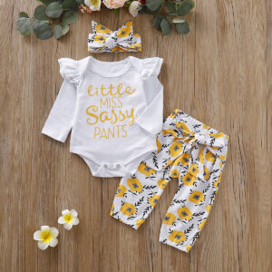 3-Pieces Baby Girl LITTLE MISS SASSY PANTS Print Bodysuit and Floral Belted Pants with Headband Set  - White