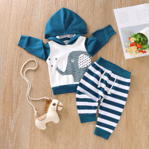 Baby Boy Striped Elephant Hoodie and Pants Set - Dark Blue/white