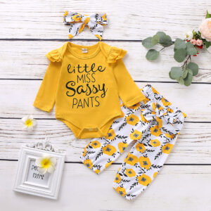 3-Pieces Baby Girl LITTLE MISS SASSY PANTS Print Bodysuit and Floral Belted Pants with Headband Set  - Yellow