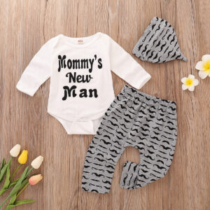 3-piece Baby Boy MOMMY'S NEW MAN Print Bodysuit and Moustache Pants with Hat Set - White