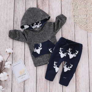 Baby Boy Christmas Reindeer Print Long-sleeve Hoodie and Pants Set - Navy
