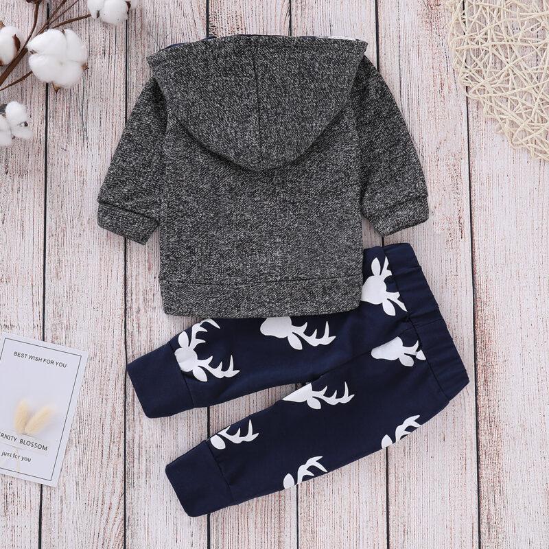 Baby Boy Christmas Reindeer Print Long-sleeve Hoodie and Pants Set - Navy