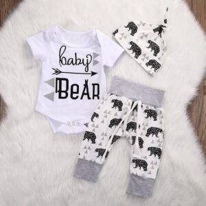 3-piece Baby Boy / Girl BABY BEAR Print Bodysuit and Pants with Hat Set - White
