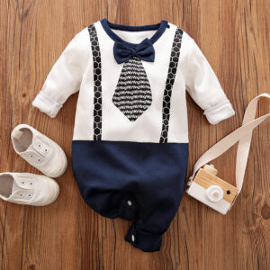 Baby Boy Newborn Gentleman Style Bowknot Decor Round-collar Long-sleeve Jumpsuit - Dark Blue/white