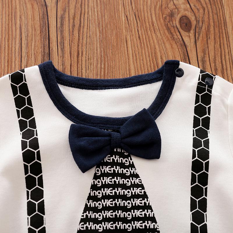 Baby Boy Newborn Gentleman Style Bowknot Decor Round-collar Long-sleeve Jumpsuit - Dark Blue/white