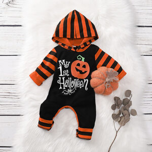 "Stylish ""My 1st Halloween "" Hooded Jumpsuit in Black for Baby Boy - Orange"