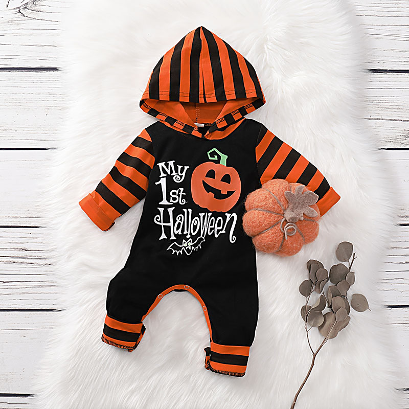 """Stylish """"My 1st Halloween """" Hooded Jumpsuit in Black for Baby Boy - Orange"""