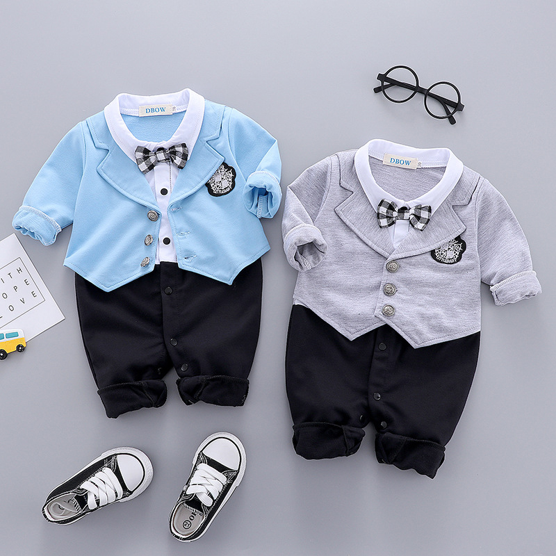 Baby Boy Faux-two Gentleman Style Bowknot Decor Long-sleeve Jumpsuit - Light Grey