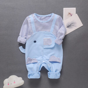 Baby Boy / Girl Elegant Style Stripe Design Long-sleeve Jumpsuit  - Blue