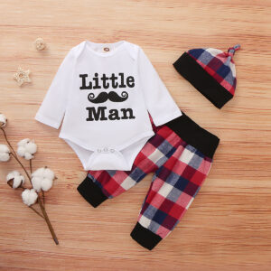 3-piece Baby Boy LITTLE MAN Bodysuit and Plaid Pants with Hat Set  - White
