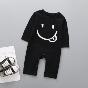 Baby Boy Smile Face Print Long-sleeve Jumpsuit  - Black