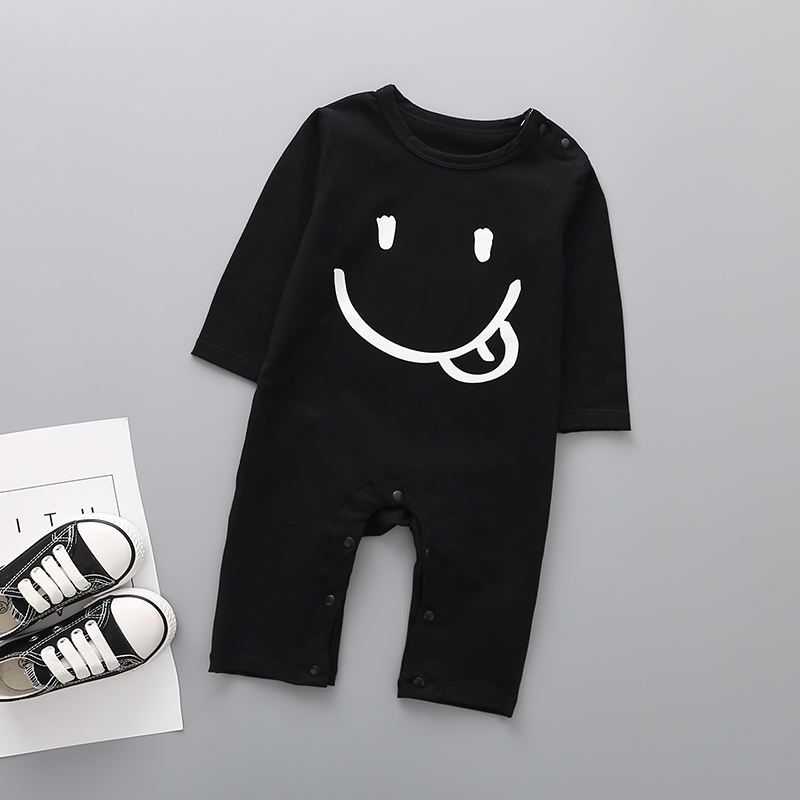 Baby Boy Smile Face Print Long-sleeve Jumpsuit - Black