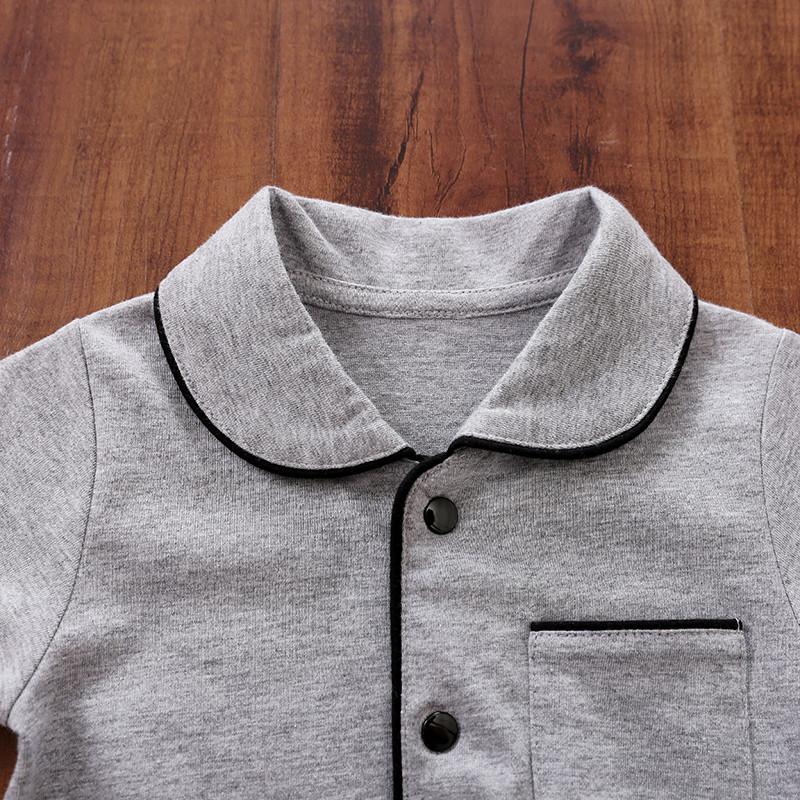 Baby Boy / Girl Newborn Cotton Solid Polo Collar Cardigan Pocket Design Long-sleeve Jumpsuit