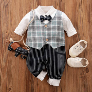 Baby Boy Gentleman Bowknot Decor Plaid Style Long-sleeve Jumpsuit - Navy