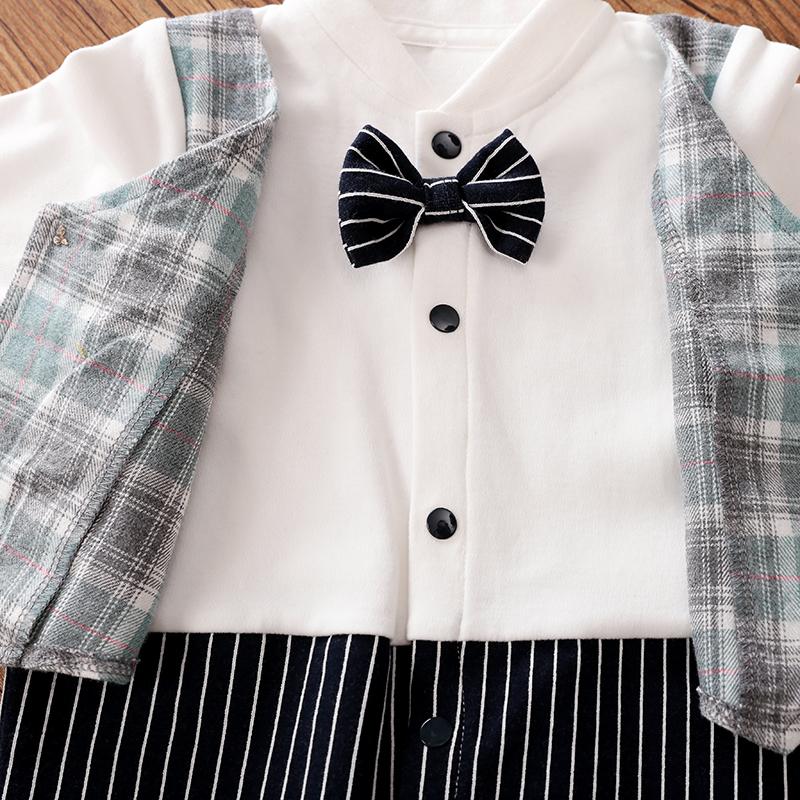 Baby Boy Gentleman Bowknot Decor Plaid Style Long-sleeve Jumpsuit - Navy