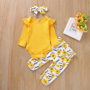 3-Pieces Baby Solid Shoulder Ruffled Bodysuit and Floral Pants with Headband Set - Yellow
