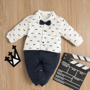 Baby Boy Gentleman Style Bowknot Decor Beard Allover Long-sleeve Jumpsuit - Dark blue