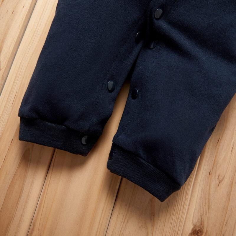 Baby Boy Gentleman Style Bowknot Decor Beard Allover Long-sleeve Jumpsuit - Dark blue