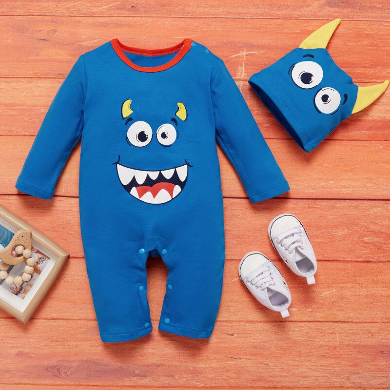 Baby Boy / Girl Halloween Cute Monster Print 3D Ears Design Long-sleeve Jumpsuit and Hat - Blue