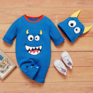 Baby Boy / Girl Halloween Cute Monster Print 3D Ears Design Long-sleeve Jumpsuit and Hat - Blue