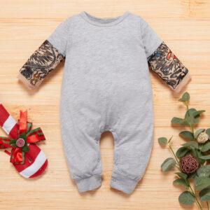 Baby Boy Newborn Cotton Tattoo Print Long-sleeve Jumpsuit - Grey