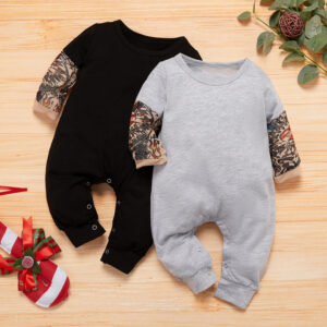Baby Boy Newborn Cotton Tattoo Print  Long-sleeve Jumpsuit  - Black
