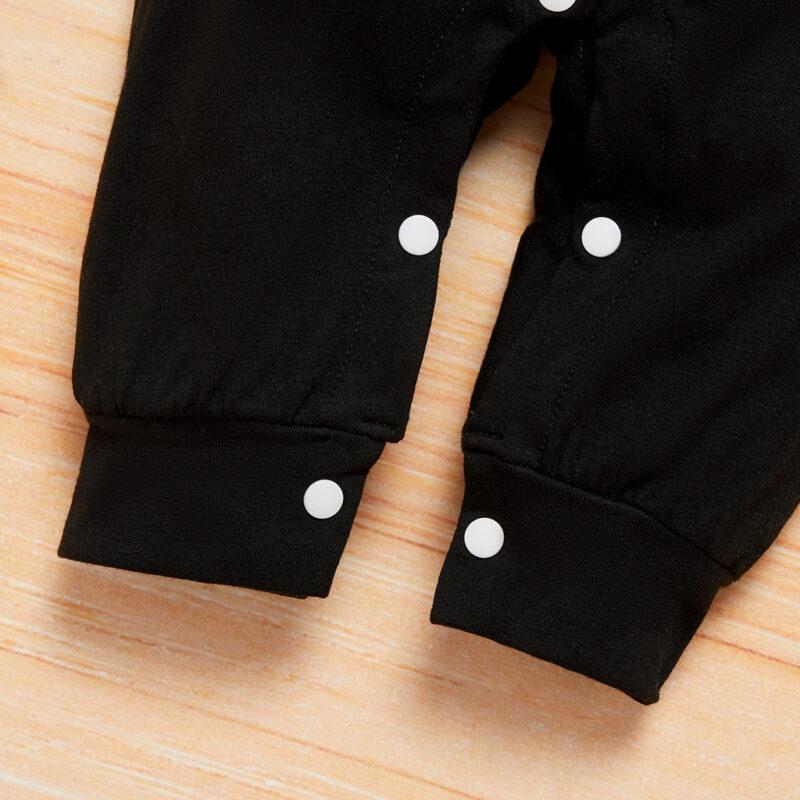Baby Boy Like a Boss Letter Print Long-sleeve Jumpsuit - Black