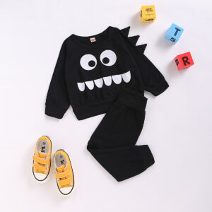 Baby Boy Cartoon Print Sweatshirt and Solid Pants Set - Black
