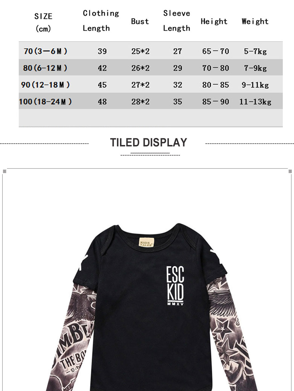 Toddler Tattoo Sleeve T Shirt Cotton Tees Tops (ESC)