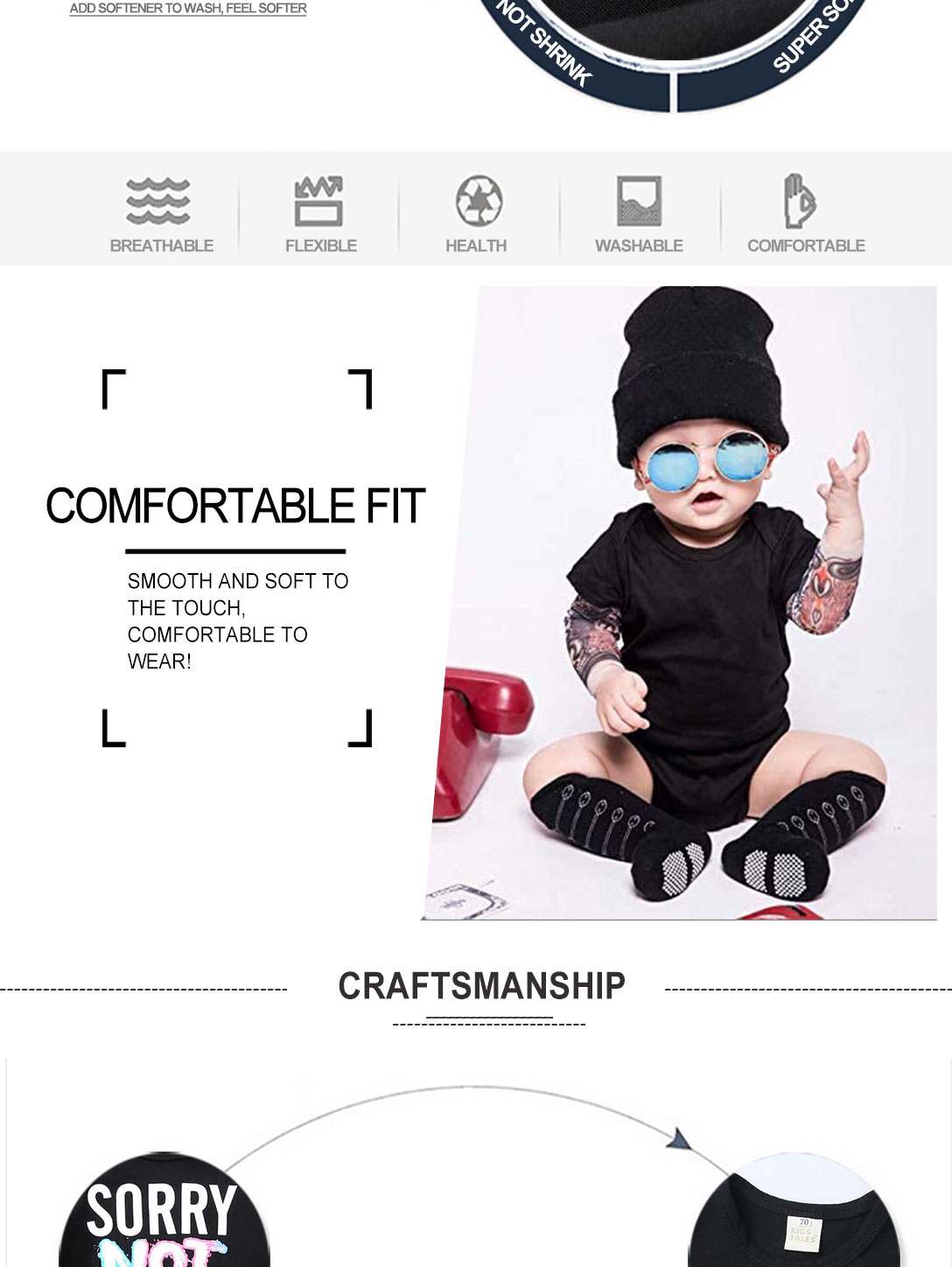 Toddler Tattoo Sleeve T Shirt Cotton Tees Tops (sorry)