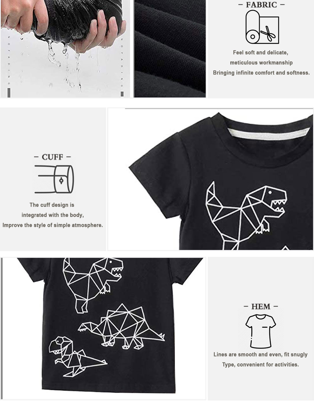 T-shirts and shorts suits (Geometric element dinosaur)