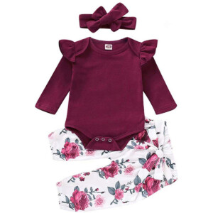 Newborn Outfits Infant 3Pcs Tops + Pants + Headband/Hat