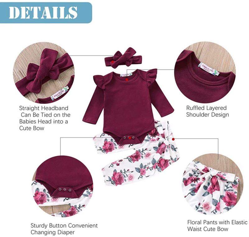 Newborn Outfits Infant 3Pcs Tops + Pants + Headband/Hat