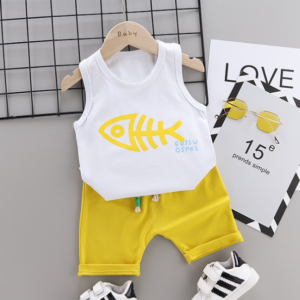 2020 Summer new Children Cotton Cartoon fish bone pattern two-Pieces vest + shorts (yellow)