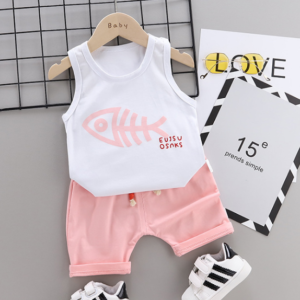 Summer new Children Cotton Cartoon fish bone pattern two-Pieces vest + shorts (pink)