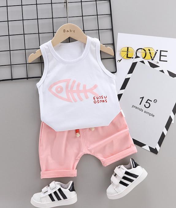 Summer new Children Cotton Cartoon fish bone pattern two-Pieces vest + shorts (pink)