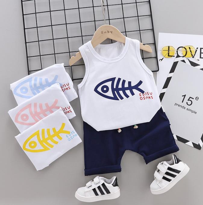 Summer new Children Cotton Cartoon fish bone pattern two-Pieces vest + shorts (black)