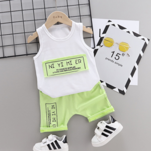Summer new Children Cotton Simple text slogan pattern two-Pieces vest + shorts (green)