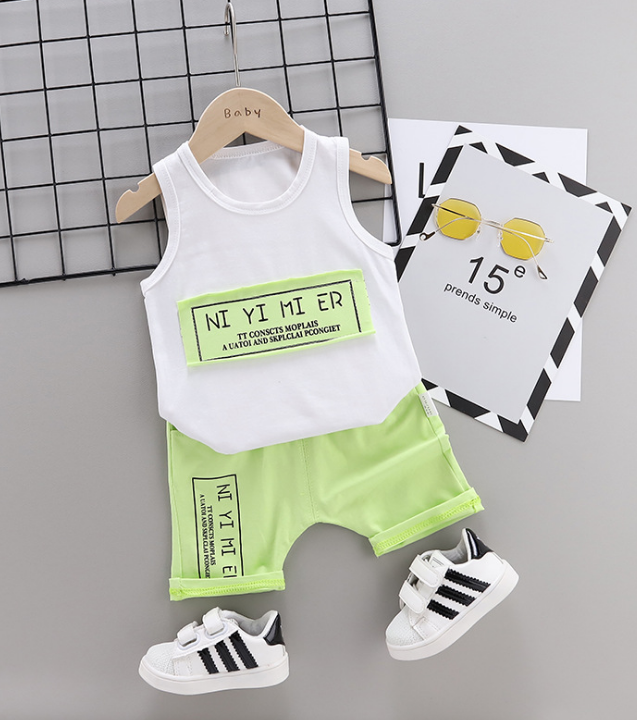Summer new Children Cotton Simple text slogan pattern two-Pieces vest + shorts (green)