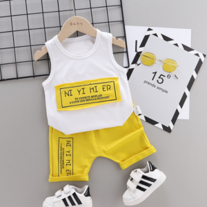 Summer new Children Cotton Simple text slogan pattern two-Pieces vest + shorts (yellow)